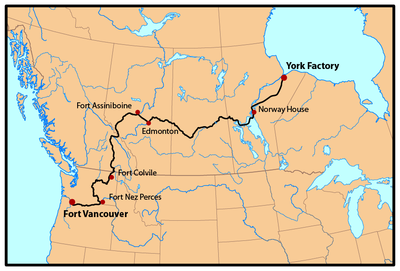 Map Of York Canada.York Factory Express Hbc Brigade Route C1810 1846 York