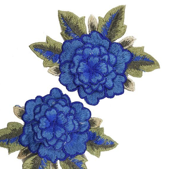FLOWER POT W//BLUE FLOWERS EMBROIDERED IRON ON APPLIQUE PATCH