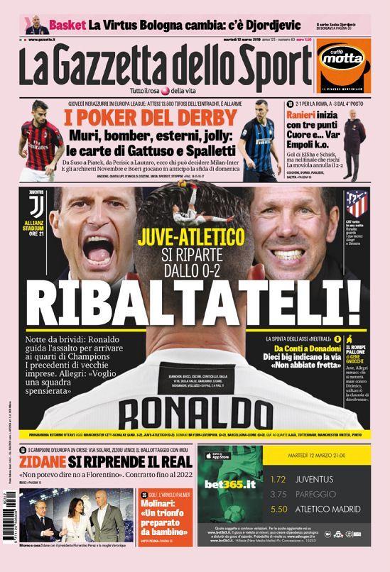 La prima pagina della Gazzetta dello Sport del 12/03/2019