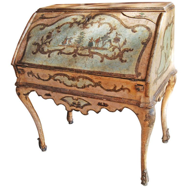 Fabulous 18th Century Painted Venetian Desk at 1stdibs