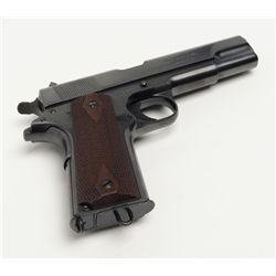 "Colt Commercial Government Model 1911 semi-auto pistol, .45 cal., 5"" barrel, blue finish, checkere"