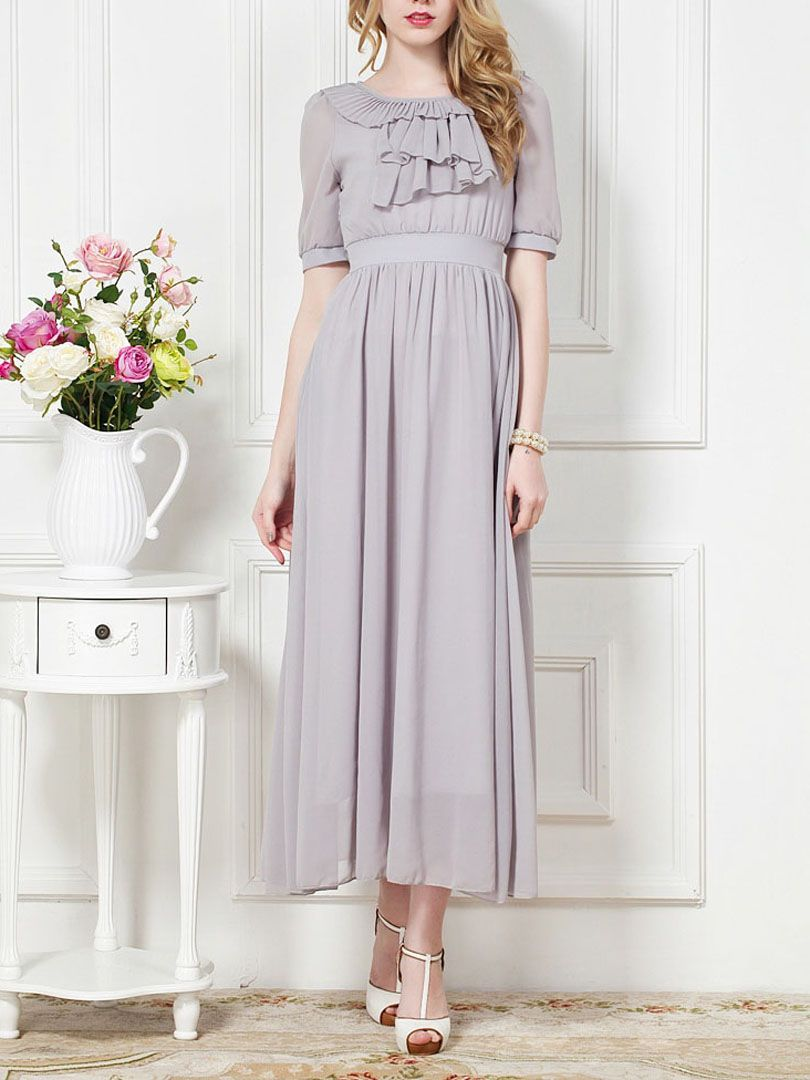 Ruffle embellished front maxi dress in pastel gray choies