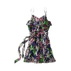 The Webster at Target® Strappy Ruffle Dress - Palm Print Navy