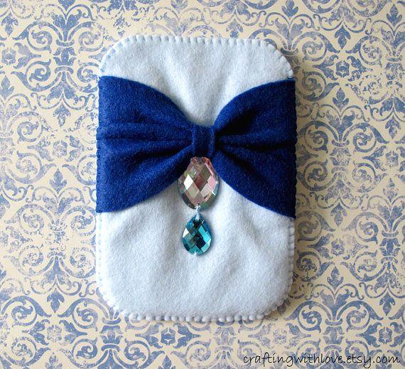 Elegant Ribbon Bow Navy Blue Rhinestone iPhone felt case. iPhone4/4s Sleeve. Digital Camera, Phone Cover cozy. Gift for her. Bridal, Wedding, Bridesmaid Gift. by craftingwithlove.etsy.com