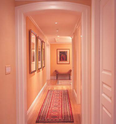 peach color of house | peach decor, peach walls, pink hallway