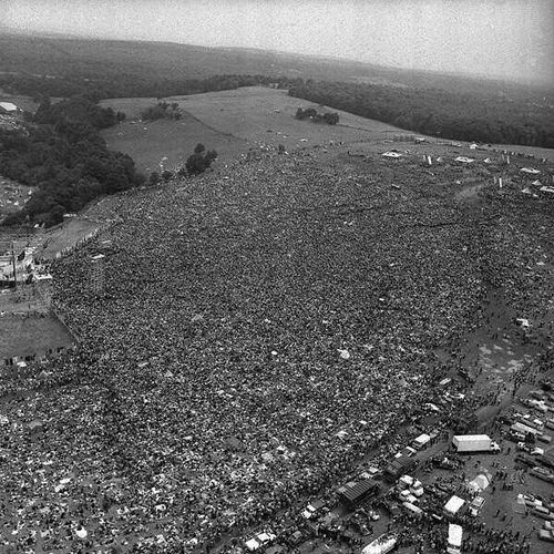 Aerial view of Woodstock, 1969