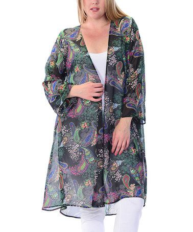 27 Another great find on #zulily! Black & Fuchsia Sheer Paisley Kimono - Plus #zulilyfinds
