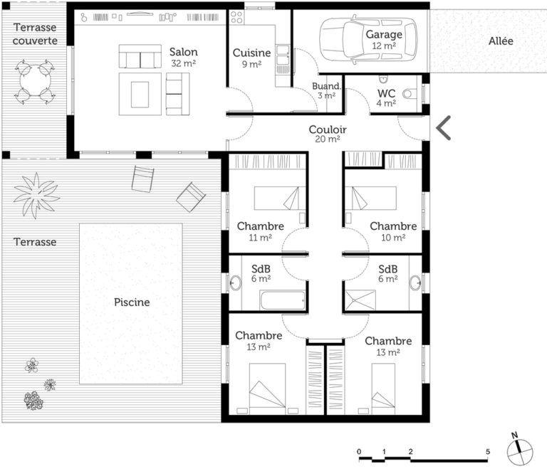 Plan Maison En L Avec 4 Envoutant Plan Maison 4 Chambre Plan Maison 150m2 Plan Maison Plan Maison 4 Chambres