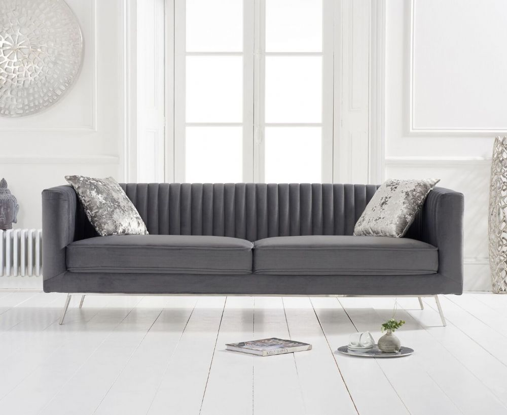 The Danielle Grey Velvet 3 Seater Sofa Adds A Beautiful Vintage Look To Any Home Crafted Using A Hardwoo Seater Sofa Luxury Furniture Living Room 3 Seater Sofa