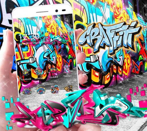 Beautiful street graffiti theme with 3D graffiti art live