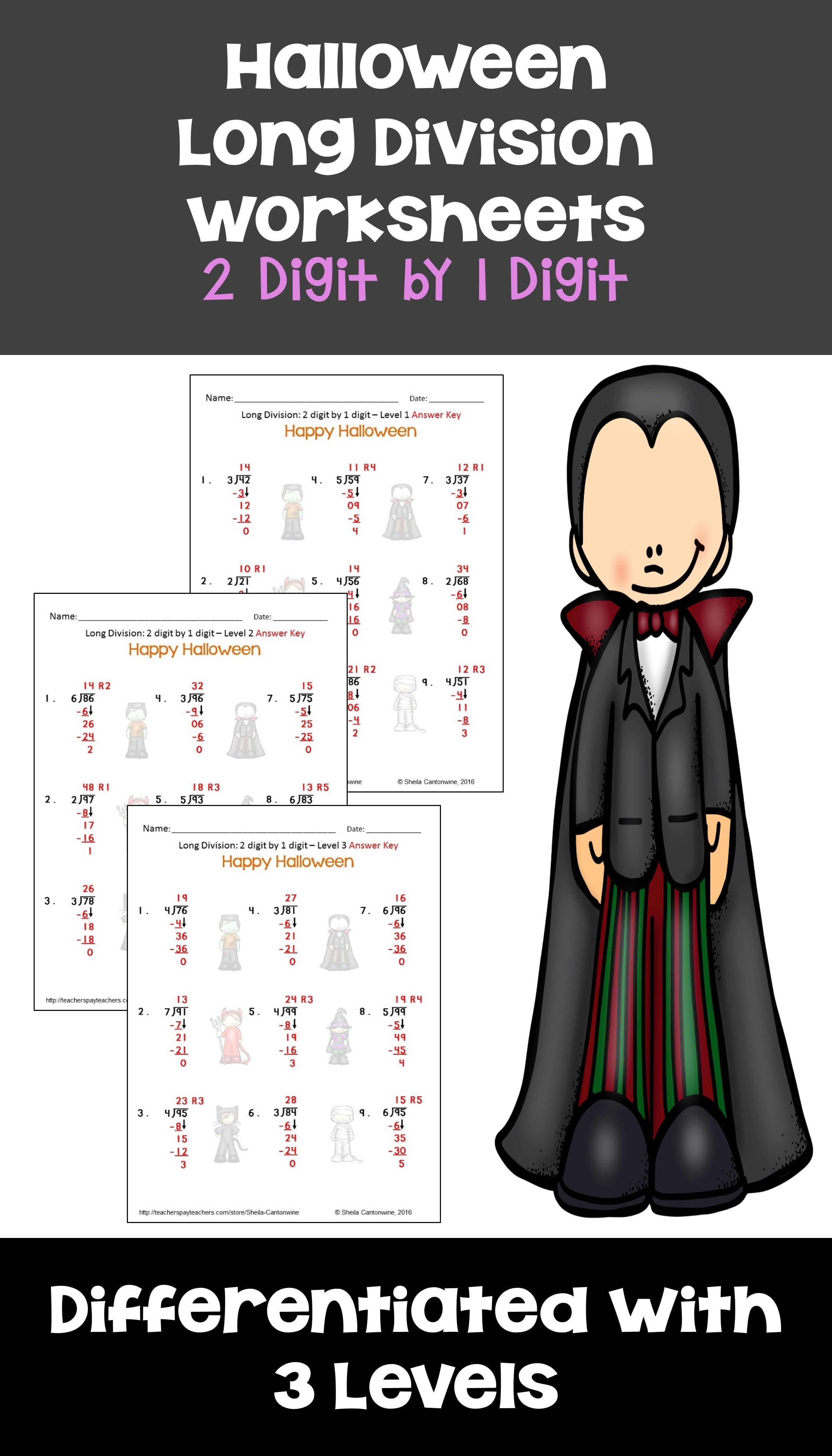 Halloween Math 2 digit by 1 digit Long Division Worksheets ...