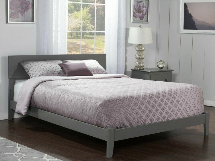 Details About Queen Wooden Bed Grey Bedframe Indoor Boards