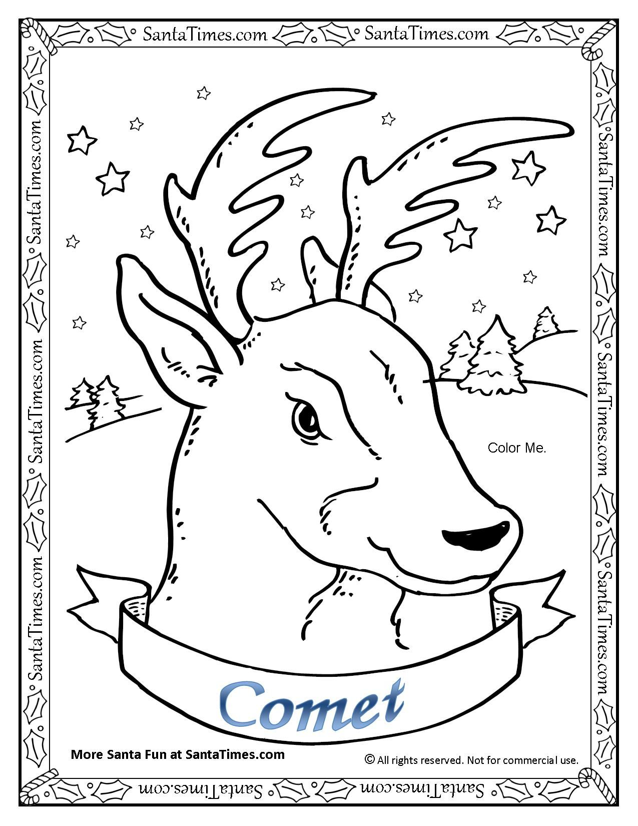 Comet The Reindeer Coloring Page More Christmas Coloring
