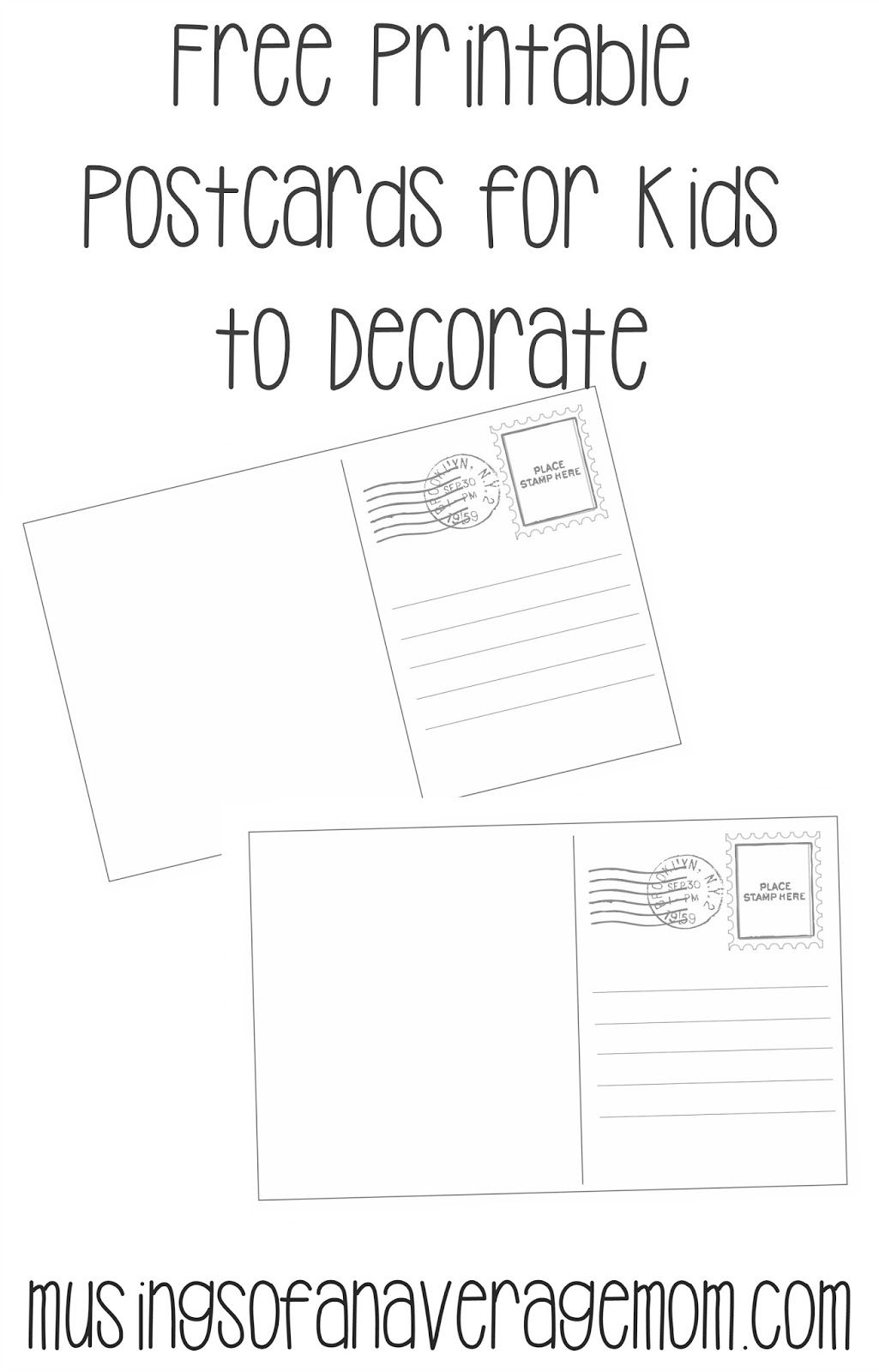 This is a picture of Printable Postcards Templates in downloadable