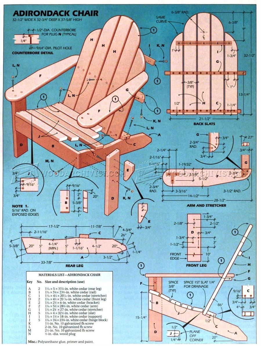 Classic Adirondack Chair Plans Outdoor Furniture Plans