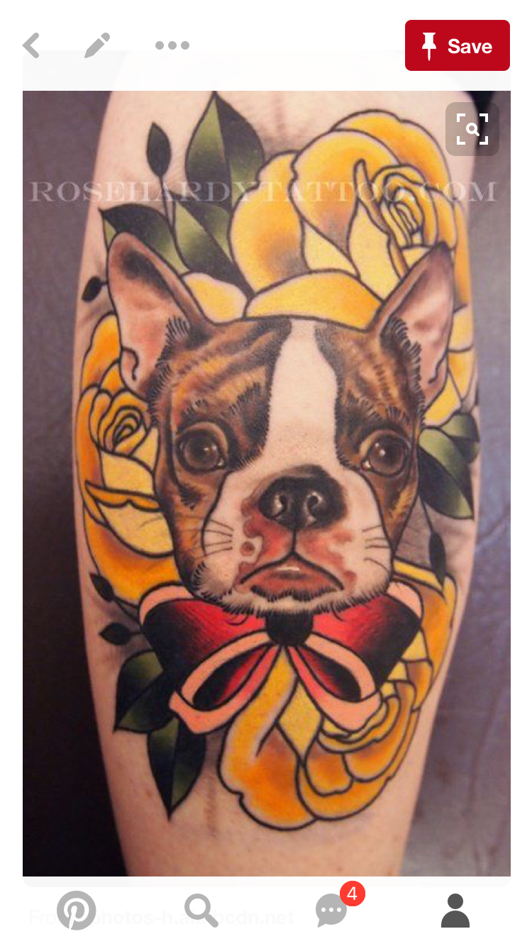 2442b534f Boston Terrier Tattoo, Boston Tattoo, Boston Terriers, Rose Hardy, Flower  Tattoos,