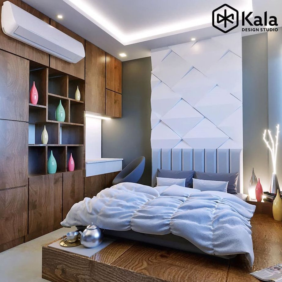 Bedroom Designed With Wooden Bed 3d Bed Backwall Wardrobe