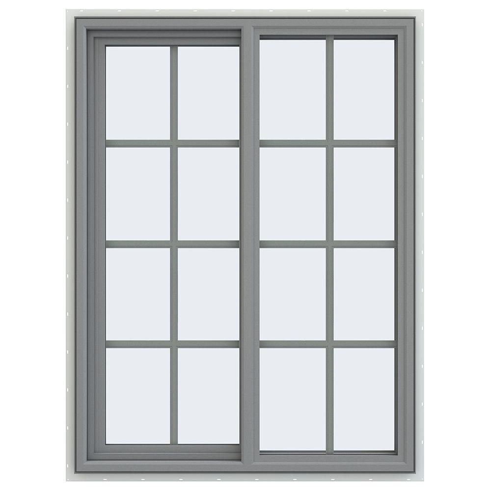 Jeld Wen 36 In X 24 In V 4500 Series Bronze Finishield Vinyl Left Handed Sliding Window With Colonial Grids Grilles Thdjw140400336 Sliding Windows Sliding Patio Doors Patio Doors