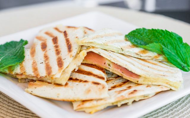Grilled Golden Gruyere and Prosciutto Tortillas
