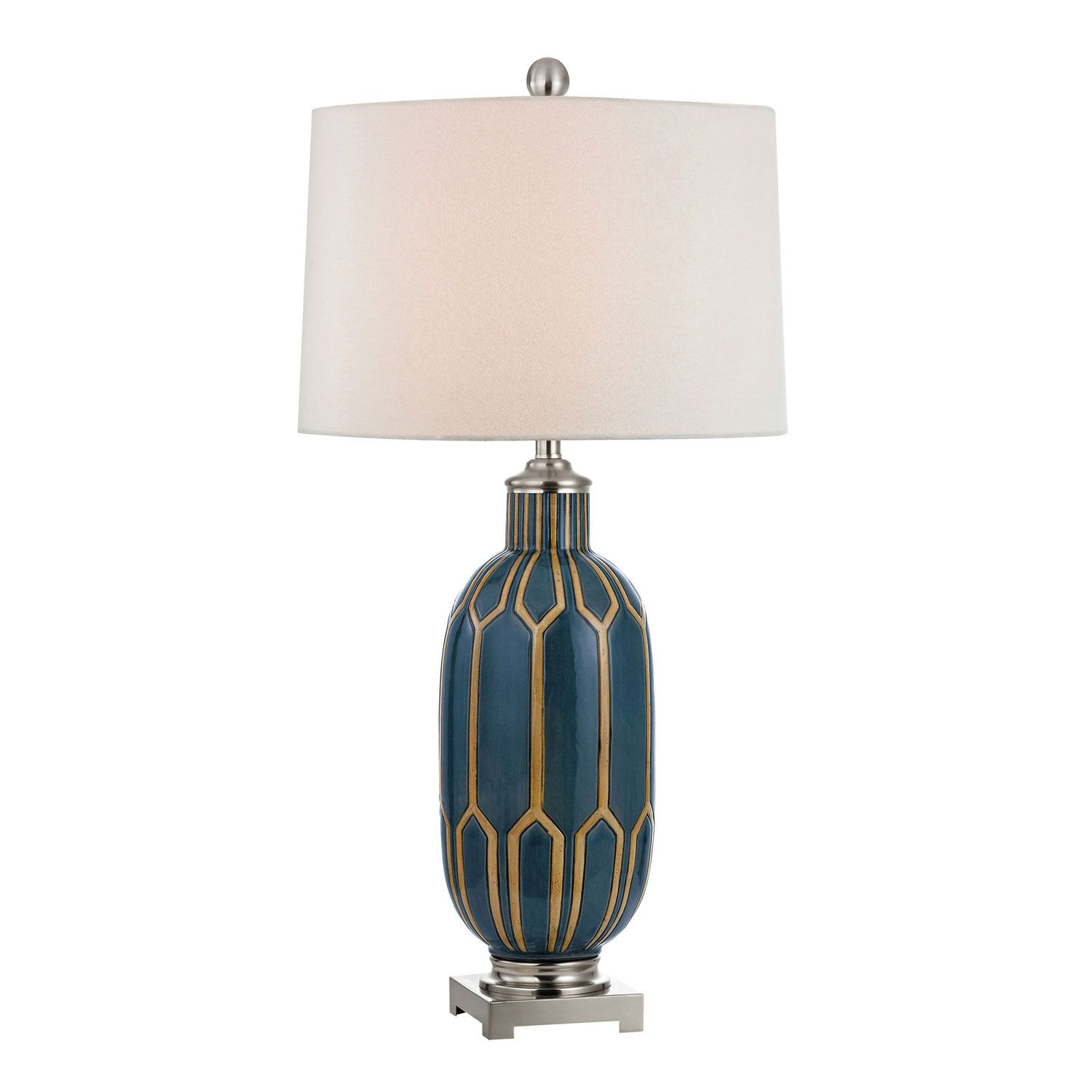 Good Blue 36 Inch Glazed Ceramic Table Lamp Dimond Accent Lamp Table Lamps Lamps