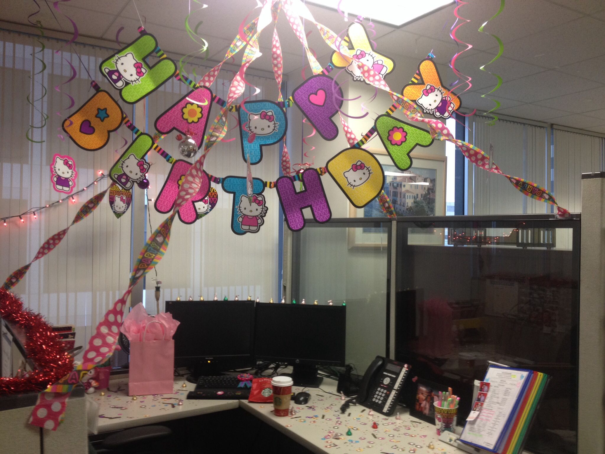 Cubicle Decorations For Birthday My Birthday Cubicle Hello Kitty Randomness Ideas Pinterest