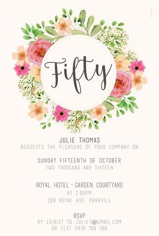 50th Birthday Invitation Floral Flowers Peonies Roses 60th 40th 30th 80th 70 Invitations Template