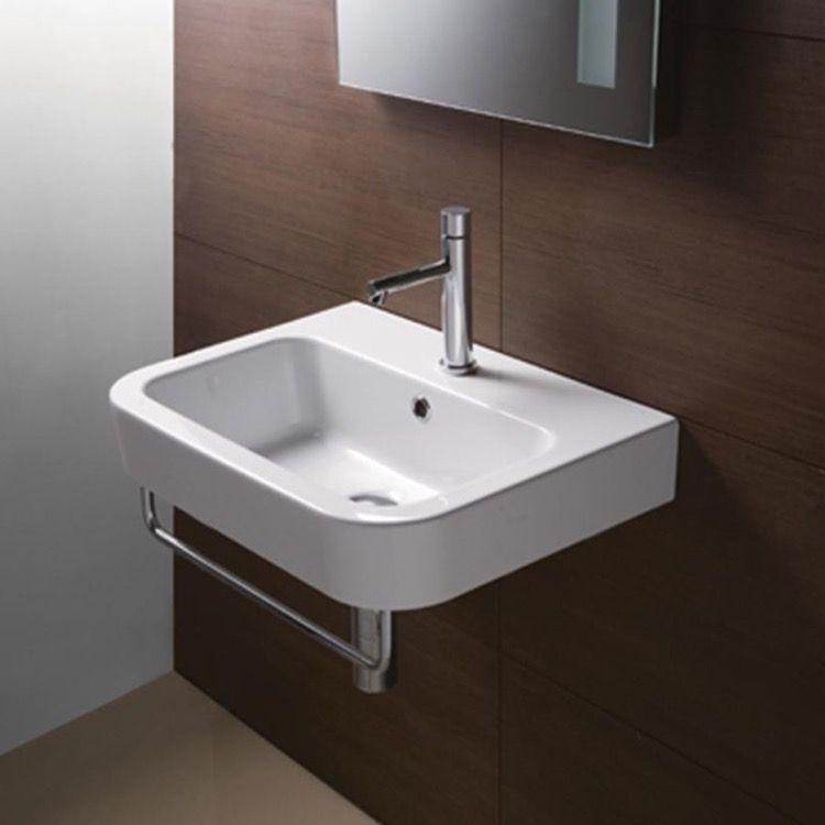 Porcelain Sink Wall Mounted Ceramic White Gsi 693911 Badrum