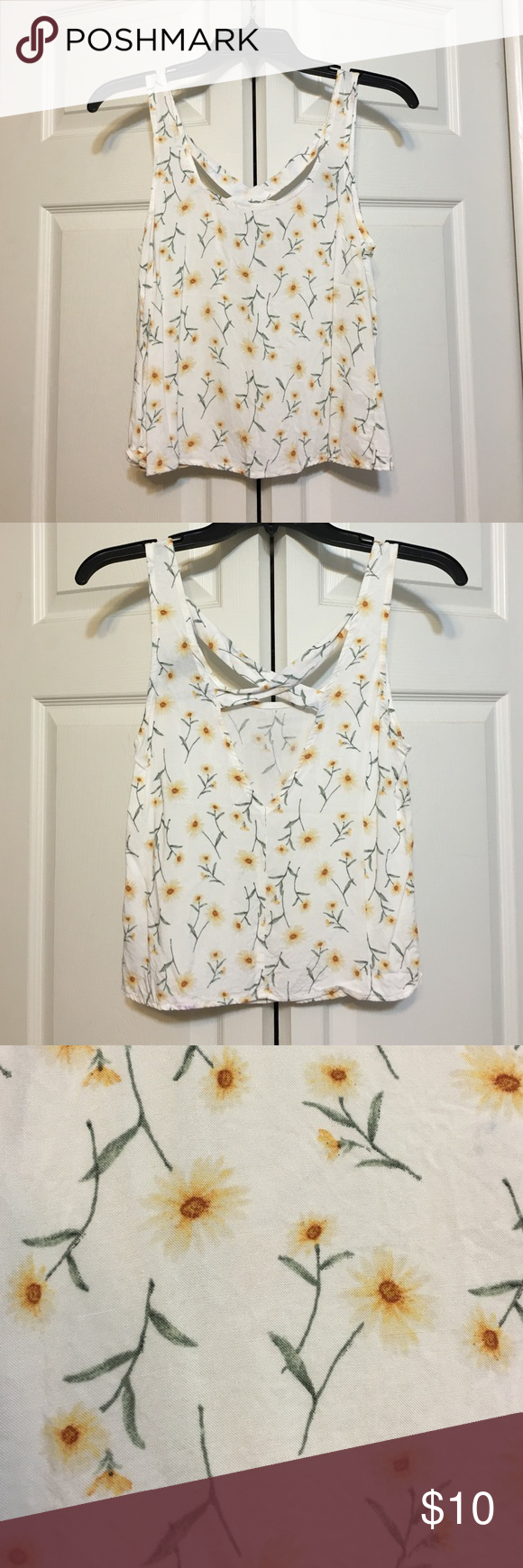 Dainty Sunflower Crop Never been worn. In excellent condition! Has a cross back. Forever 21 Tops Crop Tops