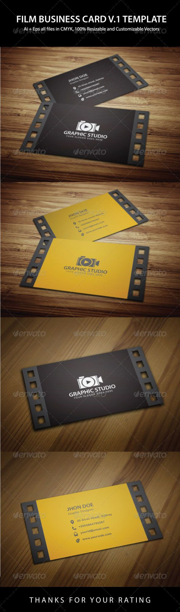 Filmography Business Card Template Photography Business Cards Business Card Design Creative Business Cards Creative