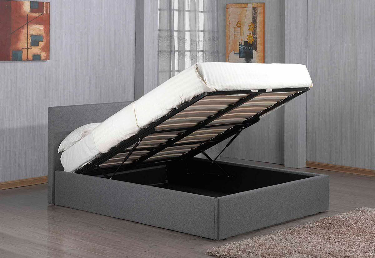 Richmond Ottoman Lift Up Under Storage Grey Fabric Bed Frame By Sleep Design Double 4ft6