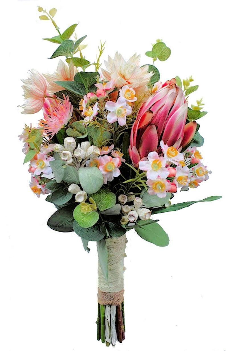 Australian Native Flowers Bridal Bouquet Artificial Protea Gum Nuts Eucalyptus Wax Flower Native Wedding Flowers In 2020 Australian Native Flowers Flowers Bouquet