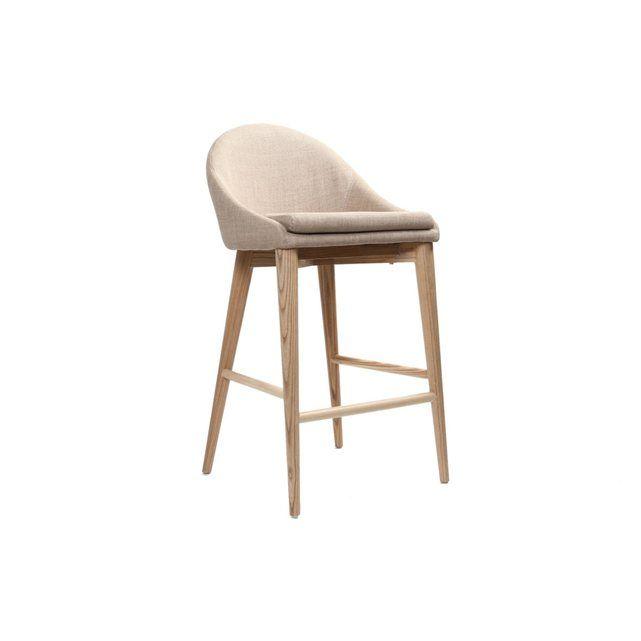 Chaise Haute Design Bois Polyester Beige LEORA MILIBOO