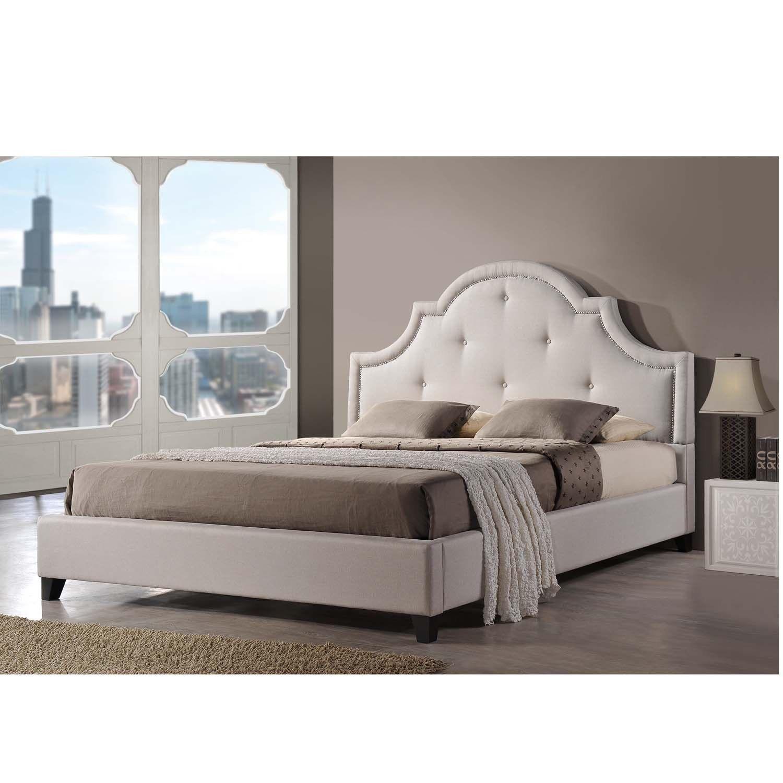 Baxton Studio Colchester Light Beige Linen Modern Platform Bed by ...