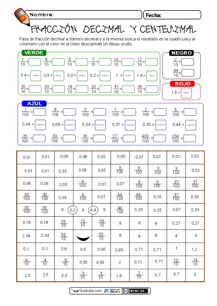fracciones decimales 01 | Educacion | Pinterest | Fracciones ...