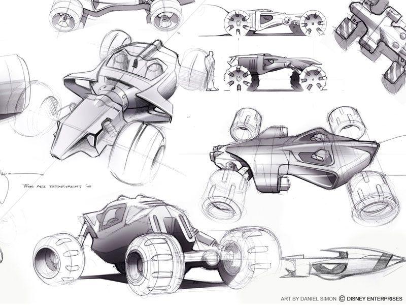 car design sketch by Daniel Simon for Disney 2009 (via simkom.com ...