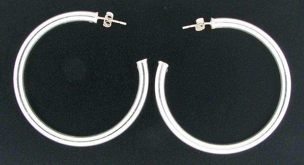 Sterling Silver 2 inch Diameter Post Hoop Earrings #Hoop