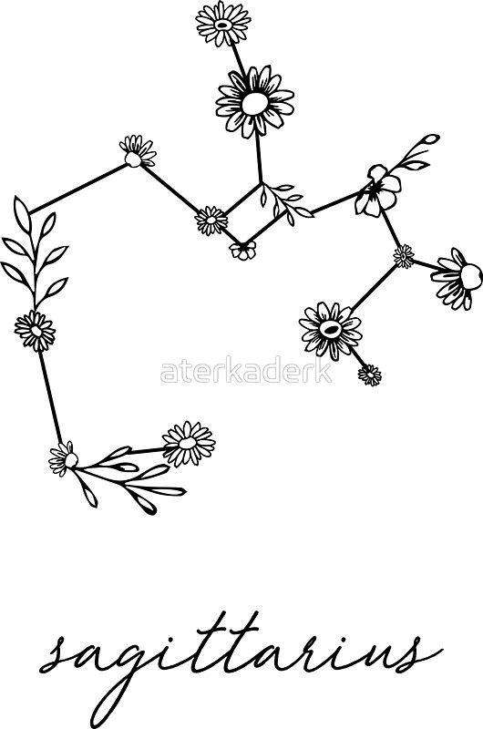 Sagittarius Zodiac Wildflower Constellation Sticker By Aterkaderk