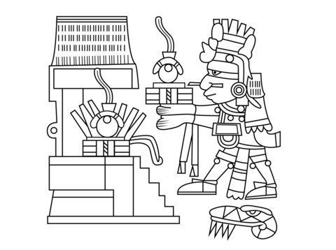 Xiuhtecuhtli Dios Azteca del Fuego, el Día y el Calor Dibujo para ...
