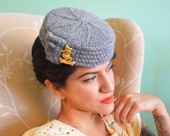 HANDMADE GIFT - Wool Knit PillBox Hat in Light Gray - 100% Alpaca Wool