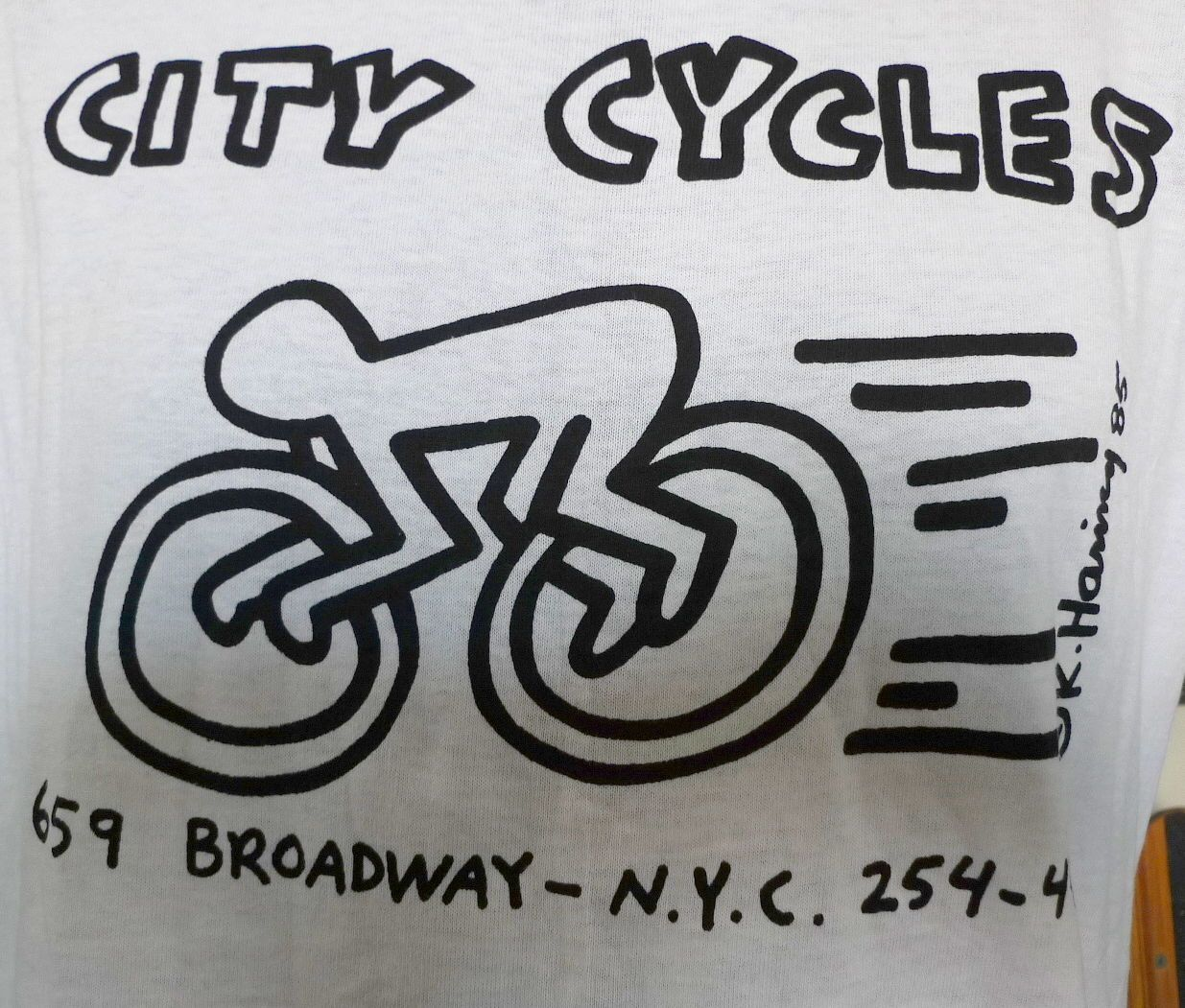 NOS 80 s Vintage 1985 KEITH HARING City Cycles NEW YORK T Shirt ... f2e3cd7c8