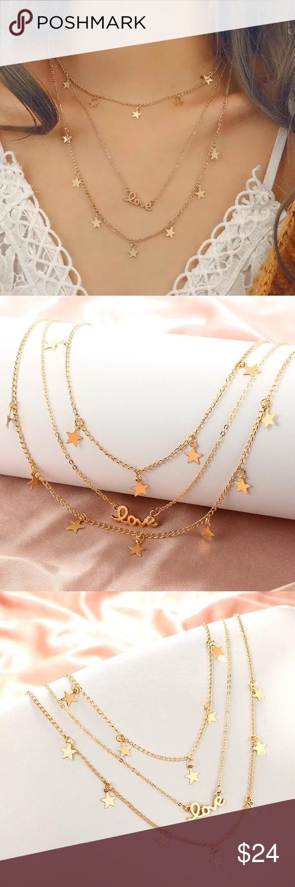 Photo of Boho Multilayer LOVE Star Gold Choker Necklace Triple Layered LOVE Star Pendant …