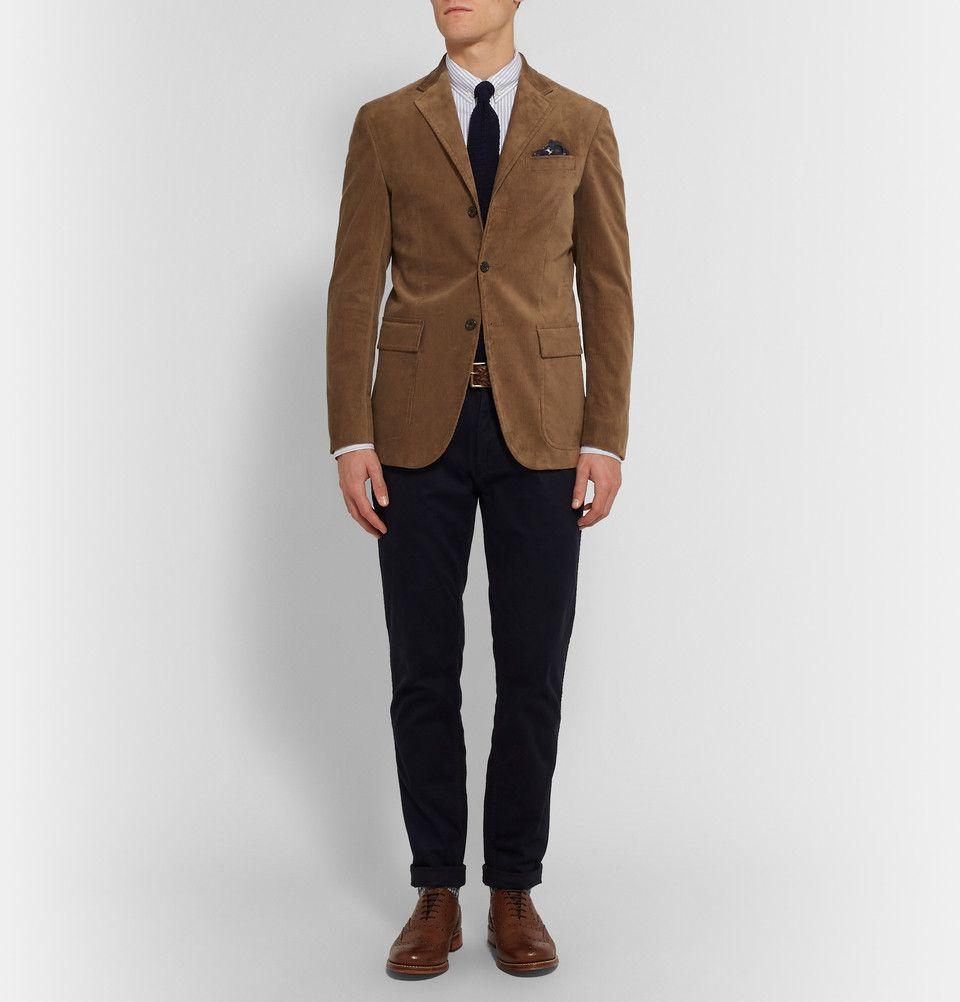 Polo Ralph Lauren Tan Harvard Slim Fit Suede Panelled Corduroy Blazer Mr Porter Suede Blazer Mens Velvet Jacket Men Corduroy Blazer Mens
