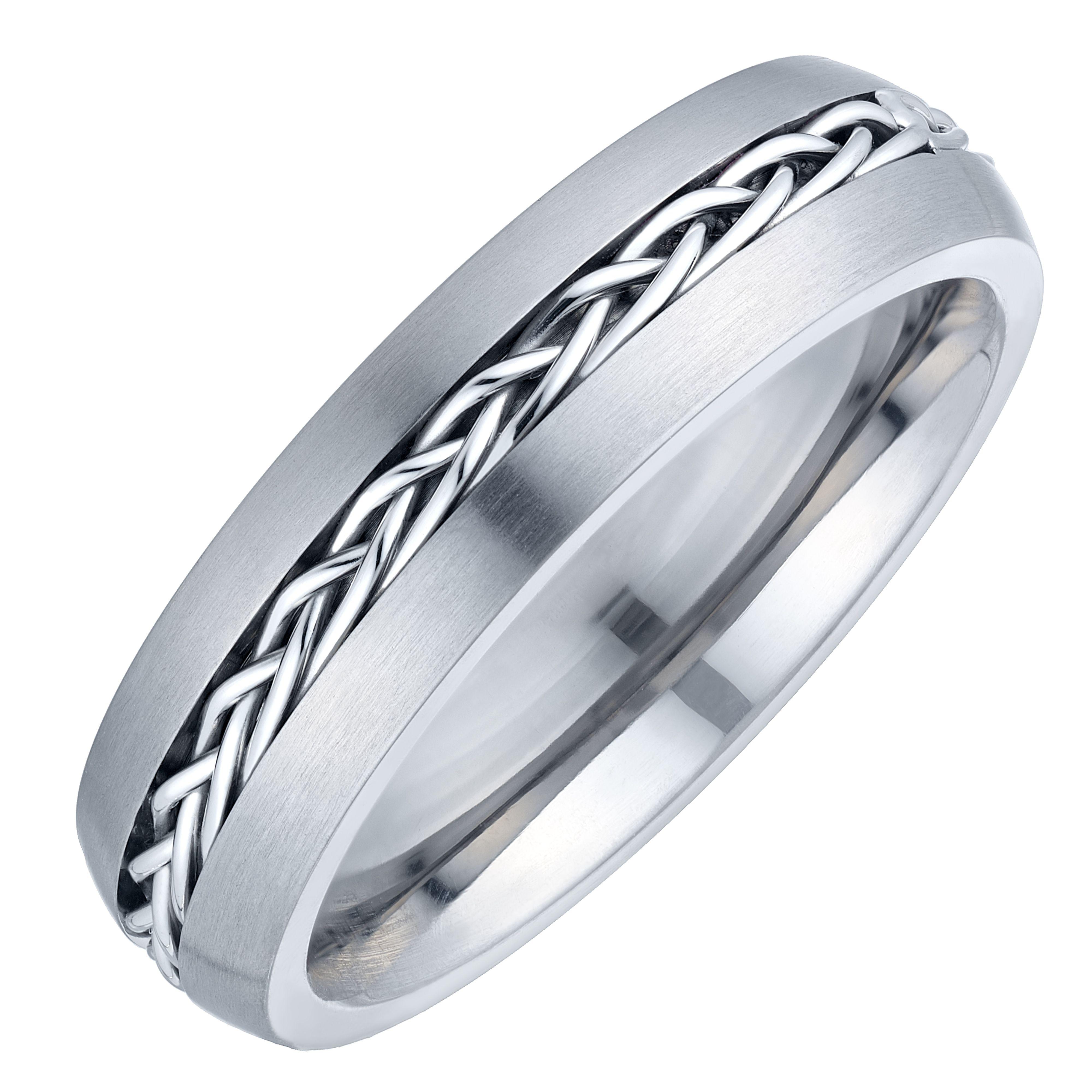 Titanium Plaited Centre Design Ring H.Samuel Ring
