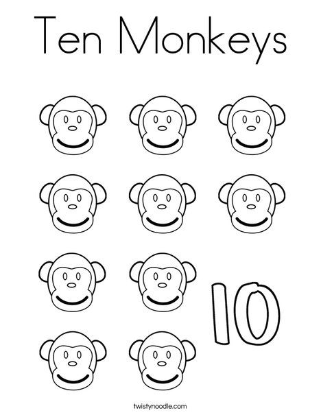 Ten Monkeys Coloring Page Twisty Noodle