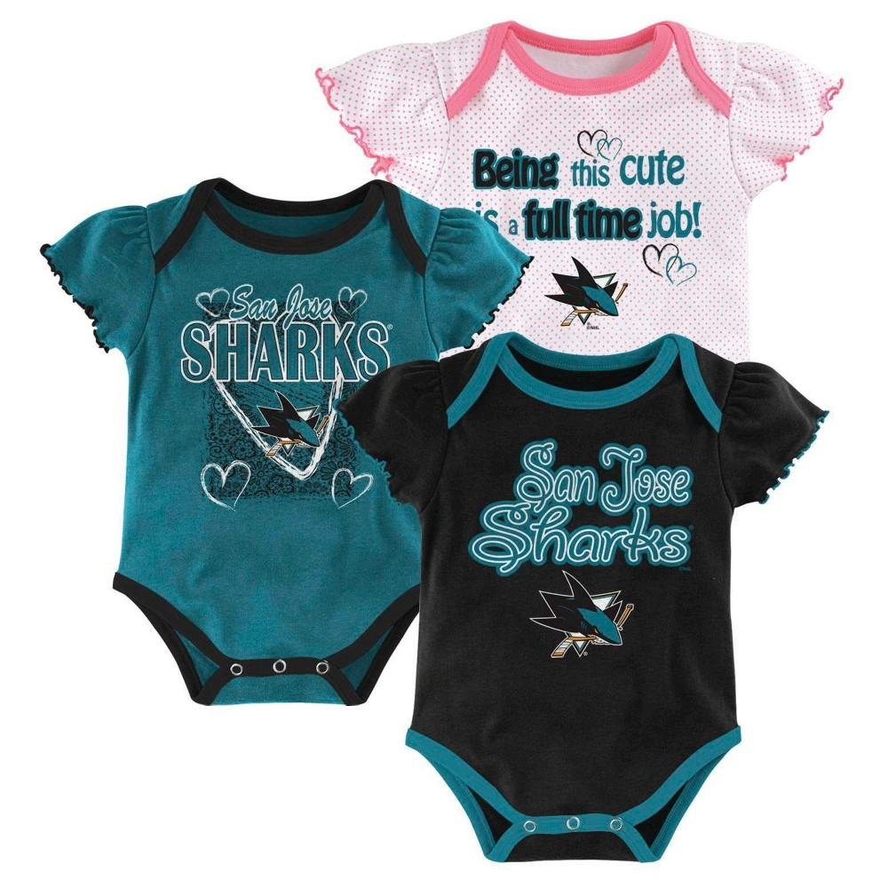 San Jose Sharks Girls  Infant Toddler 3 Pk Body Suit  e2fd3f7a0