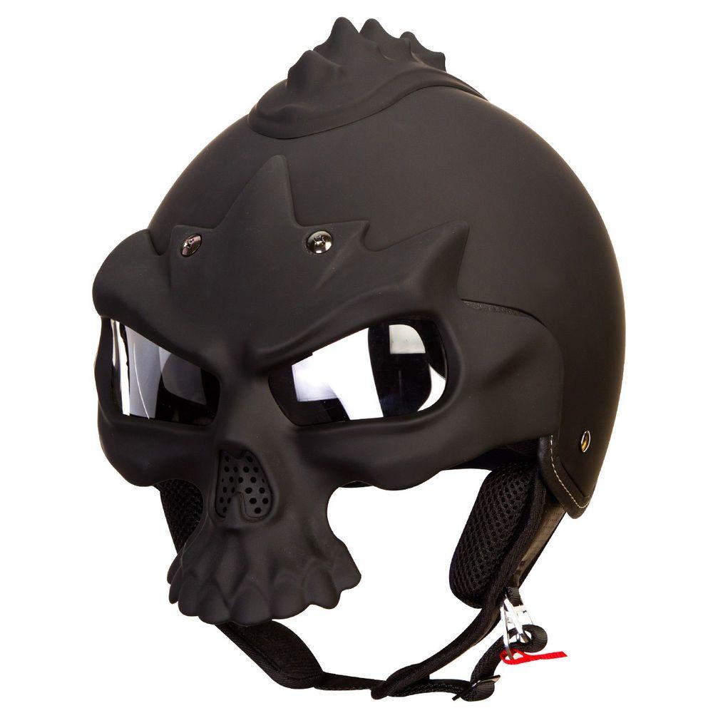 Iv skully mohawk matte black dual visor motorcycle helmet with