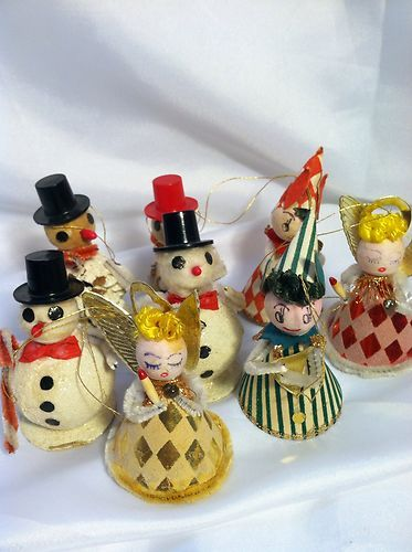 vintage paper mache christmas ornaments sale vintage christmas pinecone paper mache snowman - Vintage Christmas Ornaments For Sale