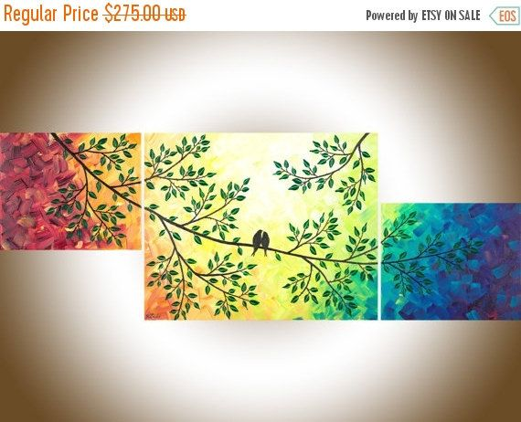 Contemporary wall art rainbow color art set of 3 by qiqigallery
