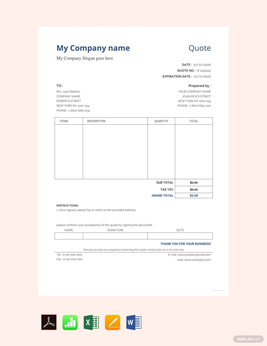 Sample Quotation Format Template Free Pdf Google Docs Google Sheets Excel Word Template Net Quotation Format Quotation Sample Quotations