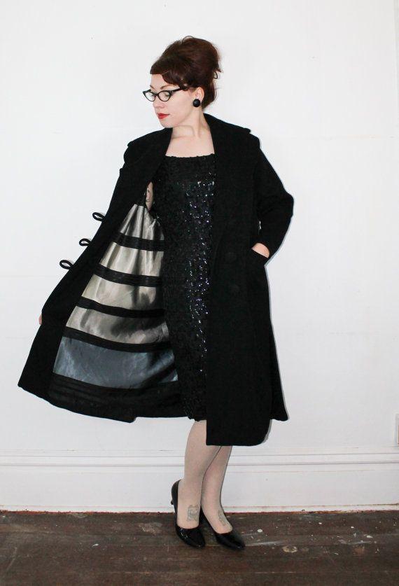 Vintage black wool coat . 1950s dress coat . by VoyeurVintage